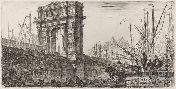 Art Print featuring the drawing Arco Di Trajoano In Ancona by Giovanni Battista Piranesi