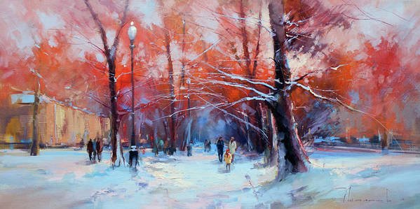 Winter Art Print featuring the painting At Dawn On Tverskoy Boulevard by Alexey Shalaev