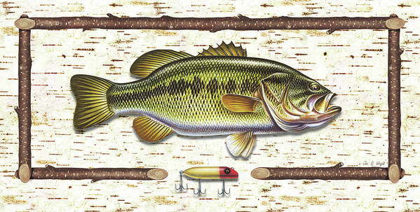 Bass Largemouth Fish Fishing Lure Tackle Lake Jq Licensing Jon Q Wright Antique Retro Rustic Birch Bark Tree Art Print featuring the painting Birch Bass by JQ Licensing