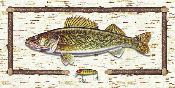 Walleye Print featuring the painting Birch Walleye by JQ Licensing