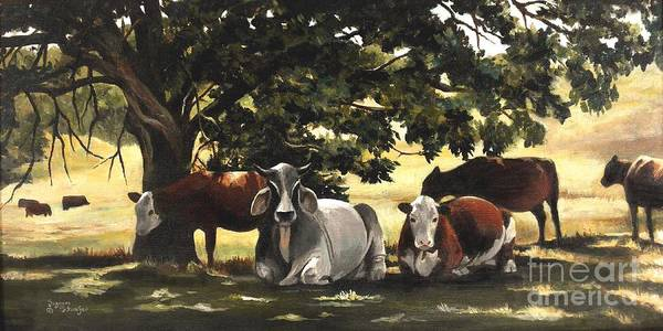 Cows In Pasture Art Print featuring the painting Brahma's Mamas by Suzanne Schaefer
