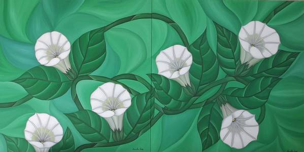 Marinella Owens Art Print featuring the painting Calystgia Sepium by Marinella Owens