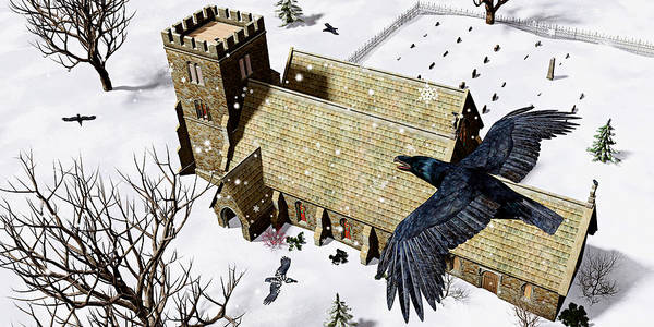 Ravens Art Print featuring the digital art Church Ravens by Peter J Sucy
