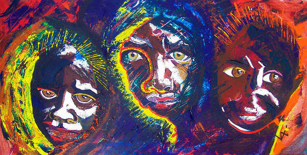 Darfur Art Print featuring the painting Darfur - Eyes Of The Future by Valerie Wolf
