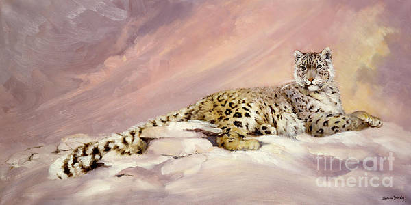 Snow Leopard Art Print featuring the painting Elegance by Silvia Duran