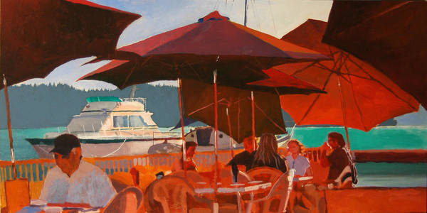 Umbrella Art Print featuring the painting Floating Restaurant by Robert Bissett