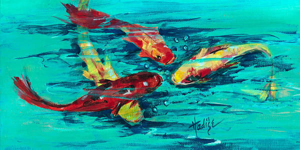 Koy Art Print featuring the painting Four Koi by Mary DuCharme