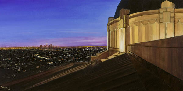 Griffith Park Observatory Art Print featuring the painting Griffith Park Observatory by Christopher Oakley