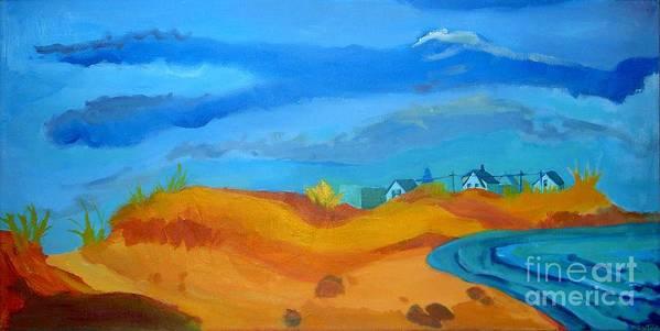 Ocean Art Print featuring the painting Hampton Dunes by Debra Bretton Robinson