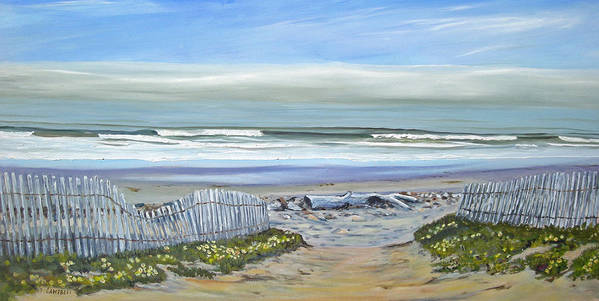 Seascape Art Print featuring the painting Haskells Beach Morning by Jeffrey Campbell