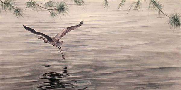 Heron Art Print featuring the painting Heron In Flight by Debbie Homewood