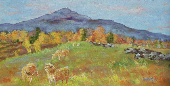 Pasture Art Print featuring the painting Hillside Grazing by Alicia Drakiotes