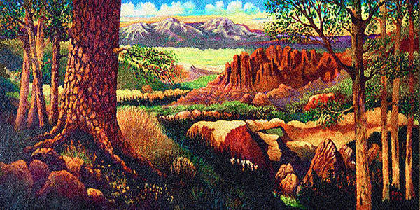 Fantasy Hobbits Rocks Trees Texas Art Print featuring the painting Hobbit Land by Donn Kay