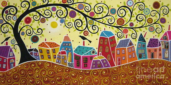 Landscape Art Print featuring the painting Houses Birds And A Tree by Karla Gerard