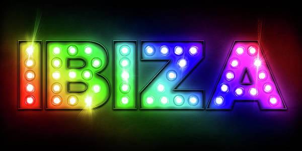 Ibiza Art Print featuring the digital art Ibiza In Lights by Michael Tompsett