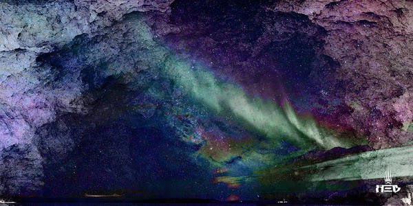 Milky Way Art Print featuring the painting Milkywaynorthernlights by Ryan Upton