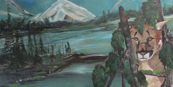 Mountains Art Print featuring the painting Mountain Cat by Susan Voidets