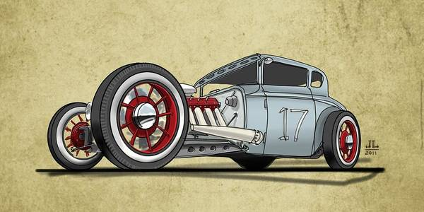Hot Rod Art Print featuring the drawing No.17 by Jeremy Lacy