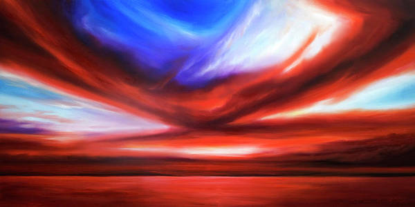 Sunrise; Sunset; Power; Glory; Cloudscape; Skyscape; Purple; Red; Blue; Stunning; Landscape; James C. Hill; James Christopher Hill; Jameshillgallery.com; Ocean; Lakes; Storm; Tornado; Lightning Art Print featuring the painting October Sky V by James Christopher Hill