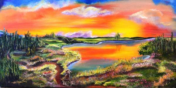 Landscape Art Print featuring the painting Ollie's Sunrise by Evi Green