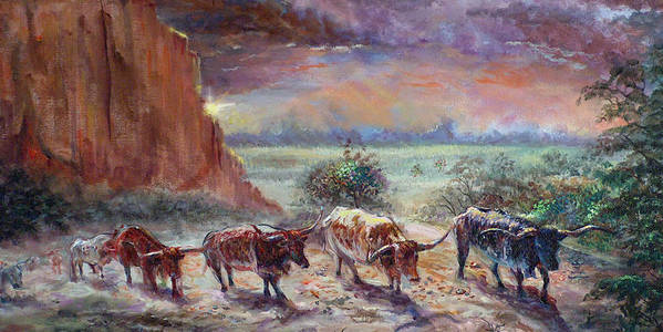 Cattle Art Print featuring the painting Open Range by Tommy Winn