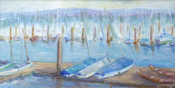 Harbor Scene Art Print featuring the painting Oregon Harbor by Barbara Anna Knauf