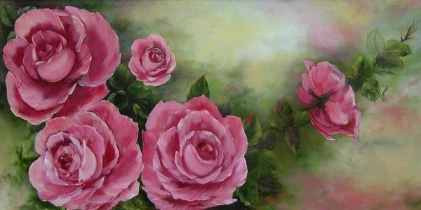 Oil Painting Art Print featuring the painting Pink Roses by Joni McPherson