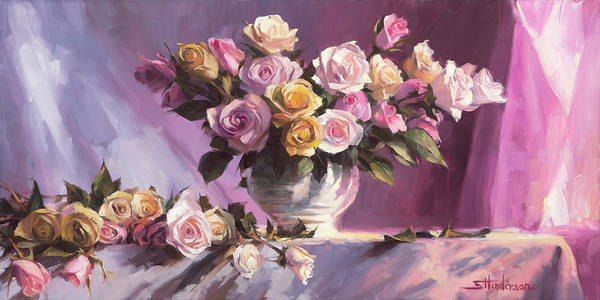 Flower Art Print featuring the painting Rhapsody Of Roses by Steve Henderson