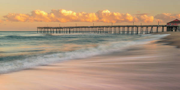 Outer Banks Art Print featuring the photograph Rodanthe Fishing Pier Sunset On The Outer Banks In Carolina Panorama by Ranjay Mitra