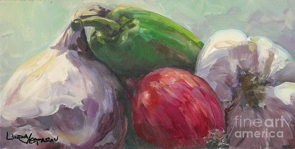 Vegetable Art Print featuring the painting Salsa by Linda Vespasian