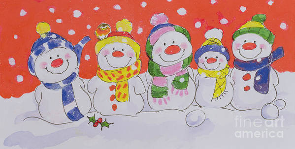 Snow Family (w/c And Ink On Paper) By Diane Matthes (contemporary Artist) Art Print featuring the painting Snow Family by Diane Matthes