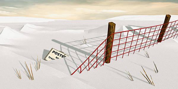 Snow Art Print featuring the painting Snow Fence by Peter J Sucy