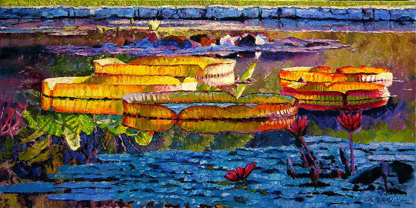 Water Lilies Art Print featuring the painting Sun Color And Paint by John Lautermilch