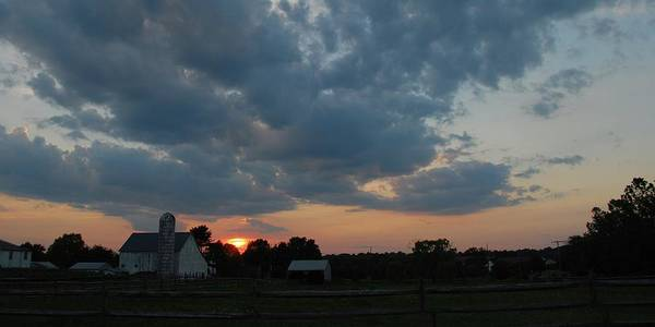 Sunset Farm Clouds Photograph Art Print featuring the photograph Sunset by Eva Ramanuskas