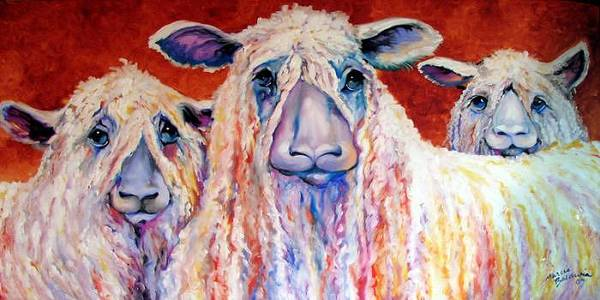 Sheep Art Print featuring the painting Sweet Wensleydales Sheep By M Baldwin by Marcia Baldwin