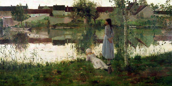 The Art Print featuring the painting The Ferry by William Stott