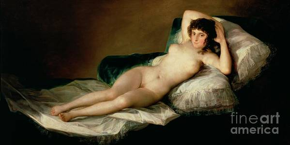 Nude Art Print featuring the painting The Naked Maja by Goya