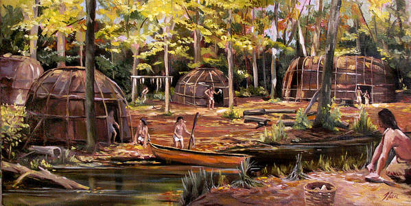 Institute Of American Indian Art Print featuring the painting The Pequots by Nancy Griswold