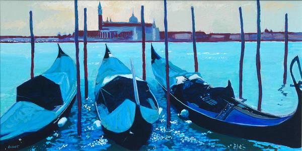Venice Art Print featuring the painting Three Gondolas by Robert Bissett