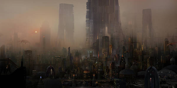 Future City Art Print featuring the painting Utherworlds Cohabitations by Philip Straub