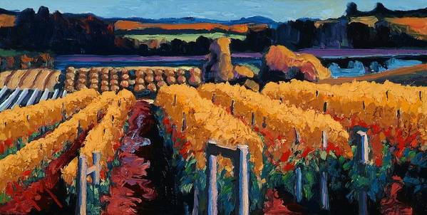 Wine Art Print featuring the painting Vineyard Light by Christopher Mize