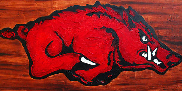 Arkansas Razorbacks Print featuring the painting Woo Pig Sooie by Laura Grisham