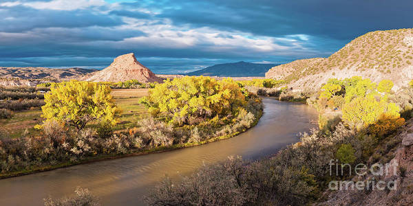 Rio Chama Art Print featuring the photograph Fall Panorama Of Rio Chama Valley And Changing Cottonwoods - Abiquiu Northern New Mexico by Silvio Ligutti