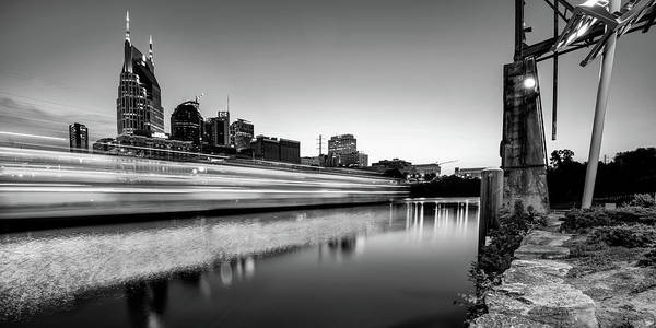 Nashville Skyline Art Print featuring the photograph Nashville Skyline From The East Bank Greenway - Monochrome Panorama by Gregory Ballos