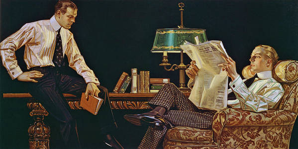 Joseph Christian Leyendecker Art Print featuring the painting Newspaper - Digital Remastered Edition by Joseph Christian Leyendecker