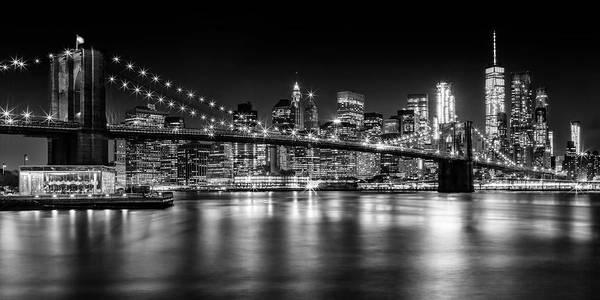 New York Art Print featuring the photograph Night Skyline Manhattan Brooklyn Bridge Bw by Melanie Viola