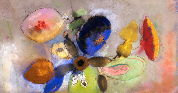 Still Life; Flower Print featuring the painting Flowers by Odilon Redon