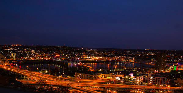 cincinnati city Lights ohio River Reflections cincinnati By Night cathy Donohoue Photography Art Print featuring the photograph Ribbons Of Light by Cathy Donohoue