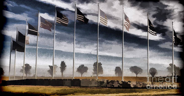 Flag Still Standing Art Print featuring the photograph American Flag Still Standing by Luther Fine Art