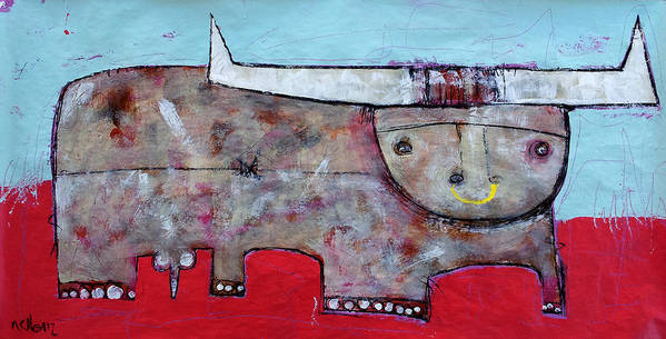 Abstract Paintings Art Print featuring the painting Animalia Taurus 1 by Mark M Mellon
